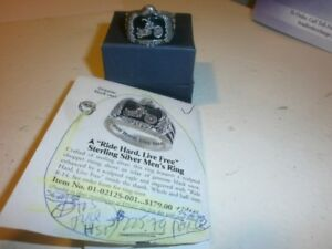 BAGUES-RIDE-HARD-LIVE-FREE-STERLING-SILVER=ONYX=RING=