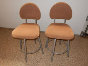 metal framed, upholstered, swivel bar stools
