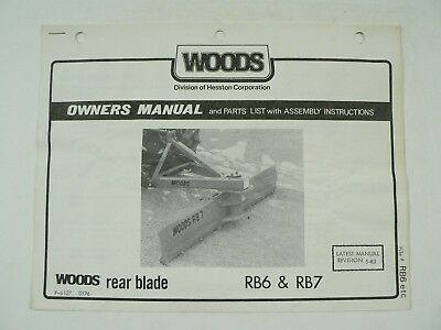 Woods Model Rb6 Rb7 Rear Blade Operators Manual Service Information Owners 1976