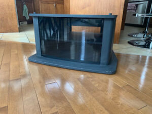 Free Black 2 Tiered Glass Enclosure TV stand