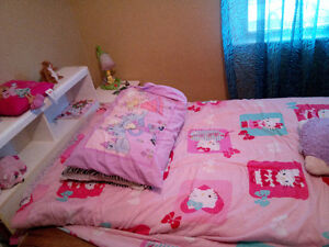 girls bed and night table