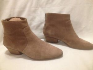 Tan Suede Leather Vince Camuto Zippered Short Boots 9.5M