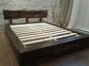 lits en bois de grange, fait sur mesure, meubles en bois grange,
