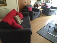 Modern John Lewis sofa bed and two armchairs