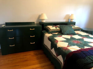 Solid 1950s Wooden Bed and Dresser-good condition
