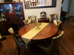 "Fabulous 54"" round dining table with 6 golden chairs"