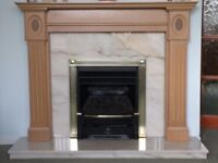 Marble hearth and rear fireplace with wooden surround £130 ono. Does not come with fire.