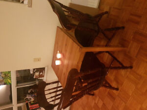 Pine wood table and wood chairs