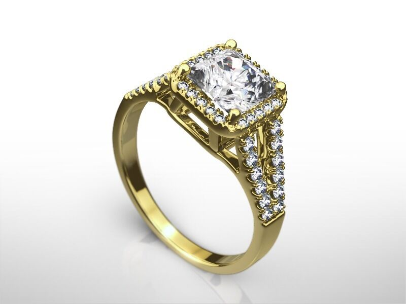 2.75 Carat Princess  F/vs2  Enhanced Diamond Jewelry Ring  Yellow Gold