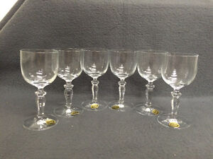 Collectible Antique Set of 6 Bohemia Crystal Sherry Glasses Neve London Ontario image 1