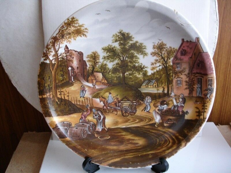 """Vintage Chinese  Hand Painted Plate """"Crushing the Grapes"""""""