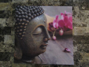 BUDDHA AND ORCHID FLOWERS- image transfer on linen canvas