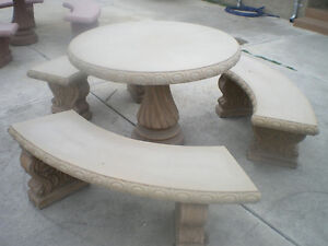 Concrete pedestal table and 2 benches