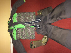 Boys snow suit and Bogs boots