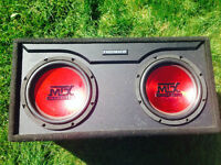 Full kit car audio system (subwoofer, amplifier and capacitor)
