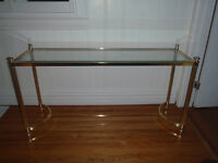 brass and glass long sofa or coffee table in exc cond