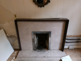 Simple solid mahogany fire surround
