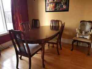 Dining room table with matching hutche