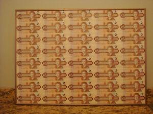 Framed Sheet of $2.00 Bills