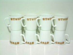 8 Vintage D-handle Pyrex Mugs - Butterfly Gold