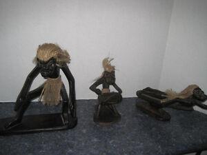 3 Hand Carved Primitives Island Themed Figures