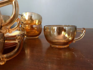 Vintage Carnival Orange Glass Cup Saucer Set of 6