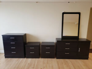Contemporary ebony bedroom furniture - $400