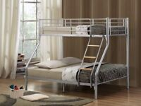 🔥❤💥❤SAME DAY FAST DELIVERY💥❤ NEW TRIO / TRIPLE SLEEPER METAL BUNK BED WITH BUDGET MATTRESSES £189