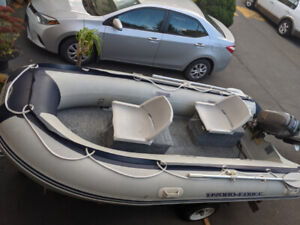 Inflatable boat, Nissan motor and trailer for sale