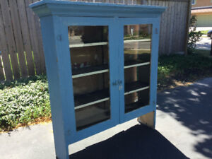 Antique blue pine kitchen cupboard with glass doors c1900