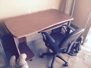 **DESK (Oak) & GLIDING CHAIR TOGETHER~GREAT CONDITION**