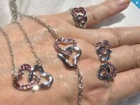 FOUR PIECES WHITE GOLD FILLED HEART JEWELLERY.