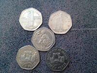 5 Jersey 50p coins
