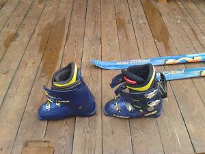 305 mm Lange Boots and 185 Fischer skiis with  Salomon bindings Peterborough Peterborough Area image 2