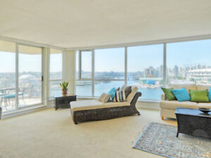 3BR/2BA Bright 1400ft WATERFRONT Vancouver Condo  $3950/month