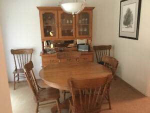 Oak hutch, Table and Chairs