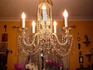 """Chandelier style Versailles vtg 21"""" 5 feux, ARGENT+cristal VENDU"""