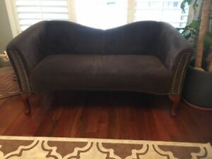 LOVE SEAT / COUCH - DARK BROWN CLOTH MATERIAL VERY CLEAN