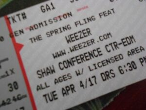 2 Tickets Spring Fling Weezer Trews Shaw Conference Ctr April 4
