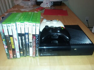 XBox 360 with two wireless controllers and great games