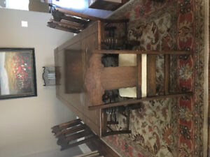 Antique dining room chairs and table