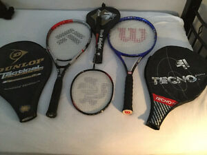 3 racquets with 3 covers,good marks/quality, 3 raquettes en ....