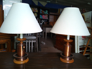 two copper table lamps