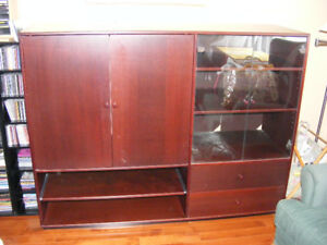 Wall unit, Ikea, holds 32 inch; TV, has shelves and drawers