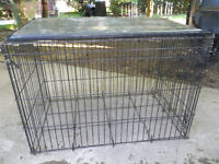 FS-large wire dog crate, black