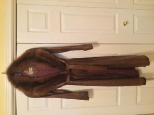 SALE, Canadian made wrapleather coat with fur trim.