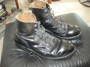 Vintage Military Combat Style Steel Toe Leather Boots - Size 10