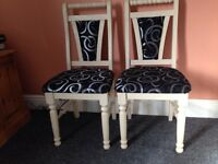 Pair shabby chic dining/bedroom chairs padded seats
