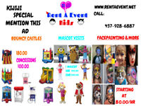 mascots , bouncy castles, facepainting, event rentals more