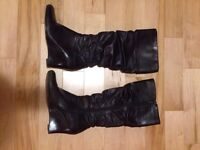 Dark Brown Leather Tall Boots - Size 8